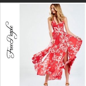 Free People Lille printed tie back Maxi Dress